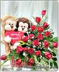 20 red roses & a pair happy monkeys (35cm high and the monkeys are very nice )
