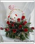 This lovely bouquet sends best wishes for any occasion with a dozen beautiful red roses and a nice teddy bear