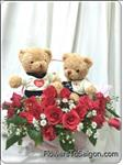 20 red roses & a pair happy bear